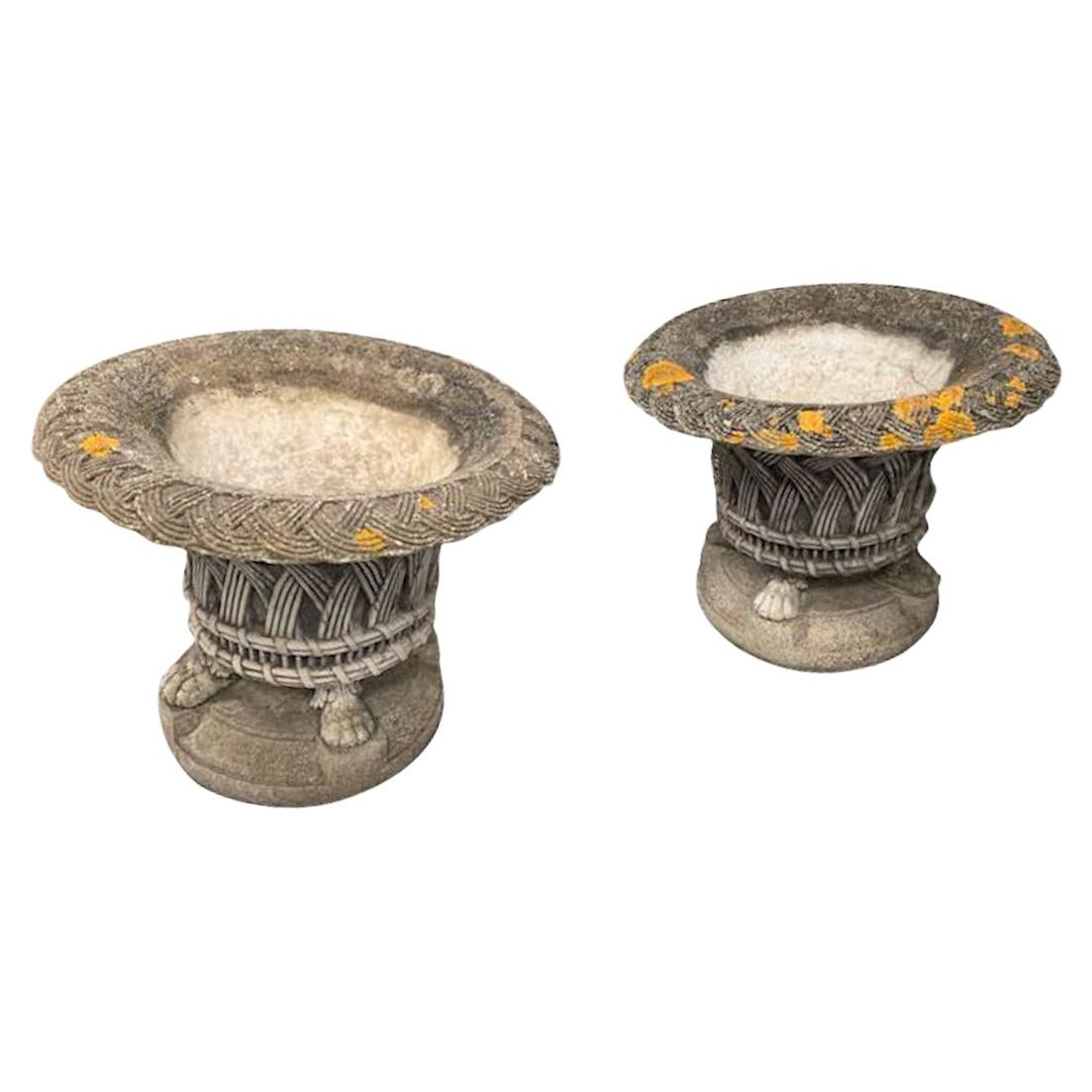 Pair of Basket Weave Stone Planters, England, 1930s