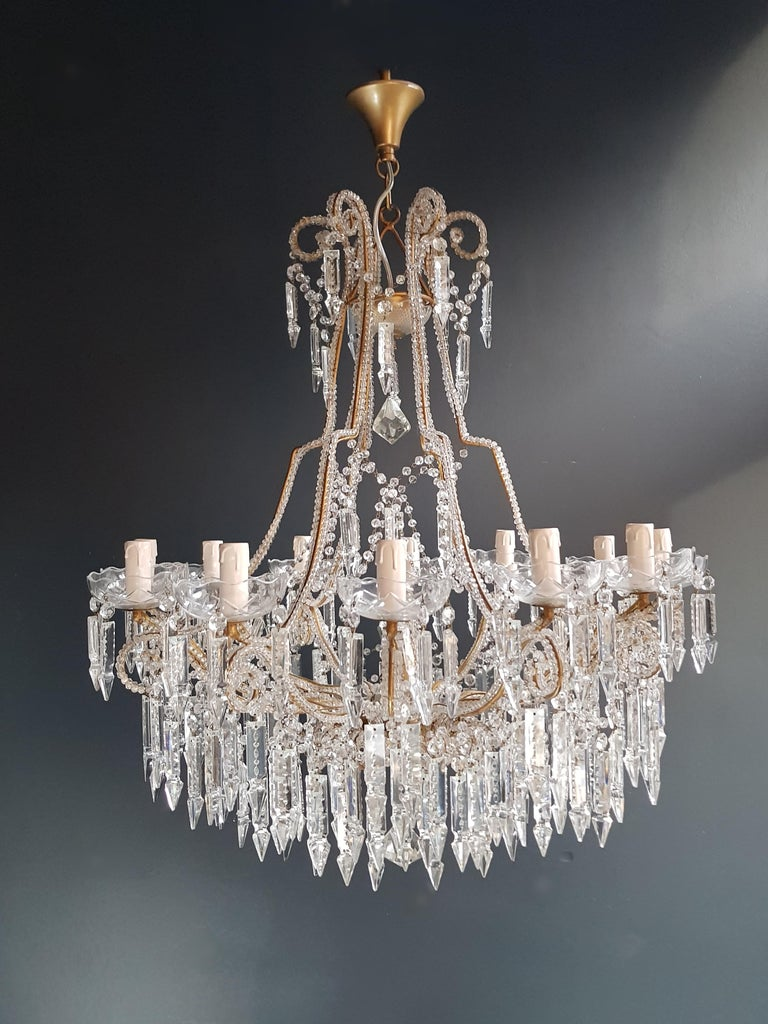 Beaded Crystal Chandelier Antique Ceiling Lamp Lustre Art Nouveau 2 Pieces, Pair For Sale 2