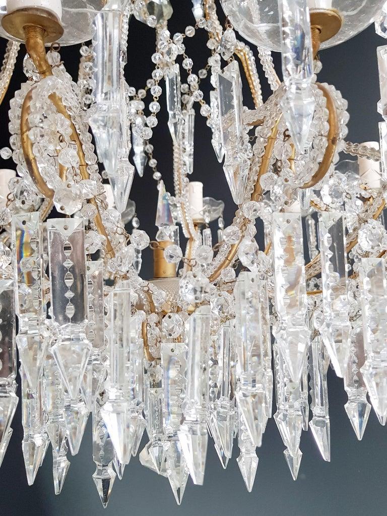 Beaded Crystal Chandelier Antique Ceiling Lamp Lustre Art Nouveau 2 Pieces, Pair For Sale 4