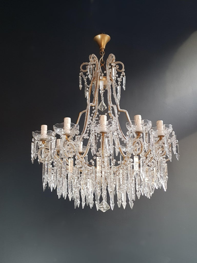 Beaded Crystal Chandelier Antique Ceiling Lamp Lustre Art Nouveau 2 Pieces, Pair For Sale 5