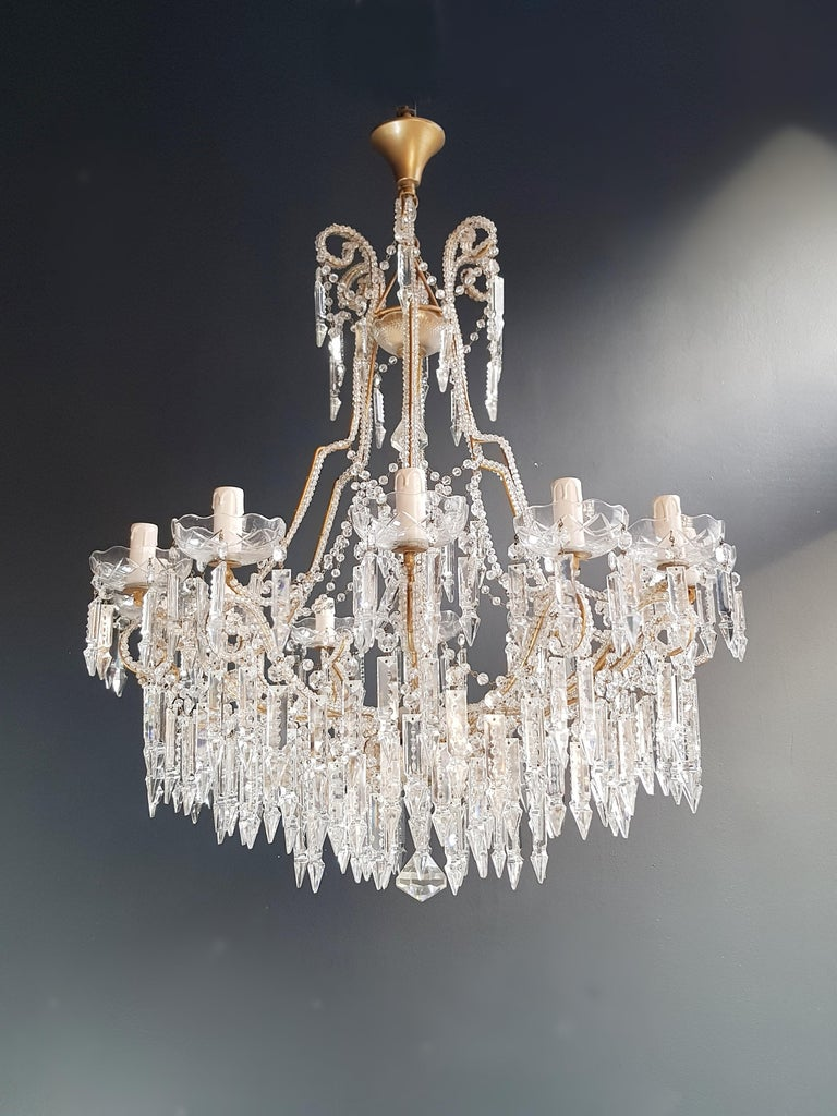 2 pieces chandelier ceiling lamp lustre Art Nouveau.