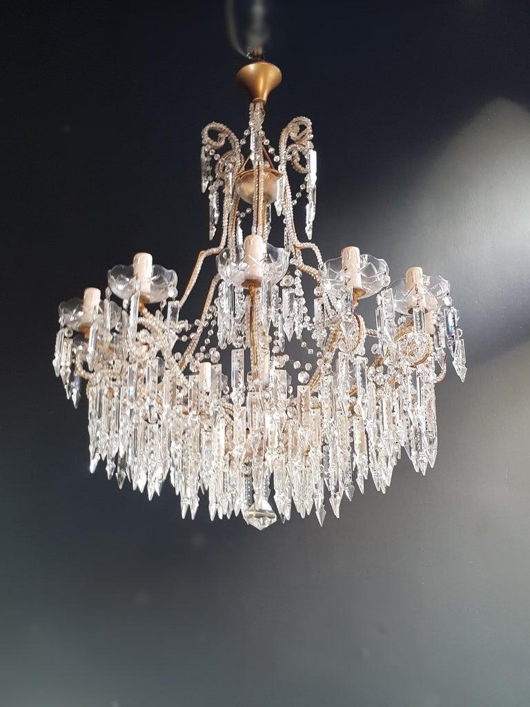 Modern Beaded Crystal Chandelier Antique Ceiling Lamp Lustre Art Nouveau 2 Pieces, Pair For Sale