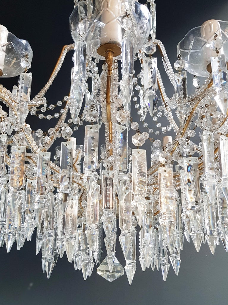 Italian Beaded Crystal Chandelier Antique Ceiling Lamp Lustre Art Nouveau 2 Pieces, Pair For Sale