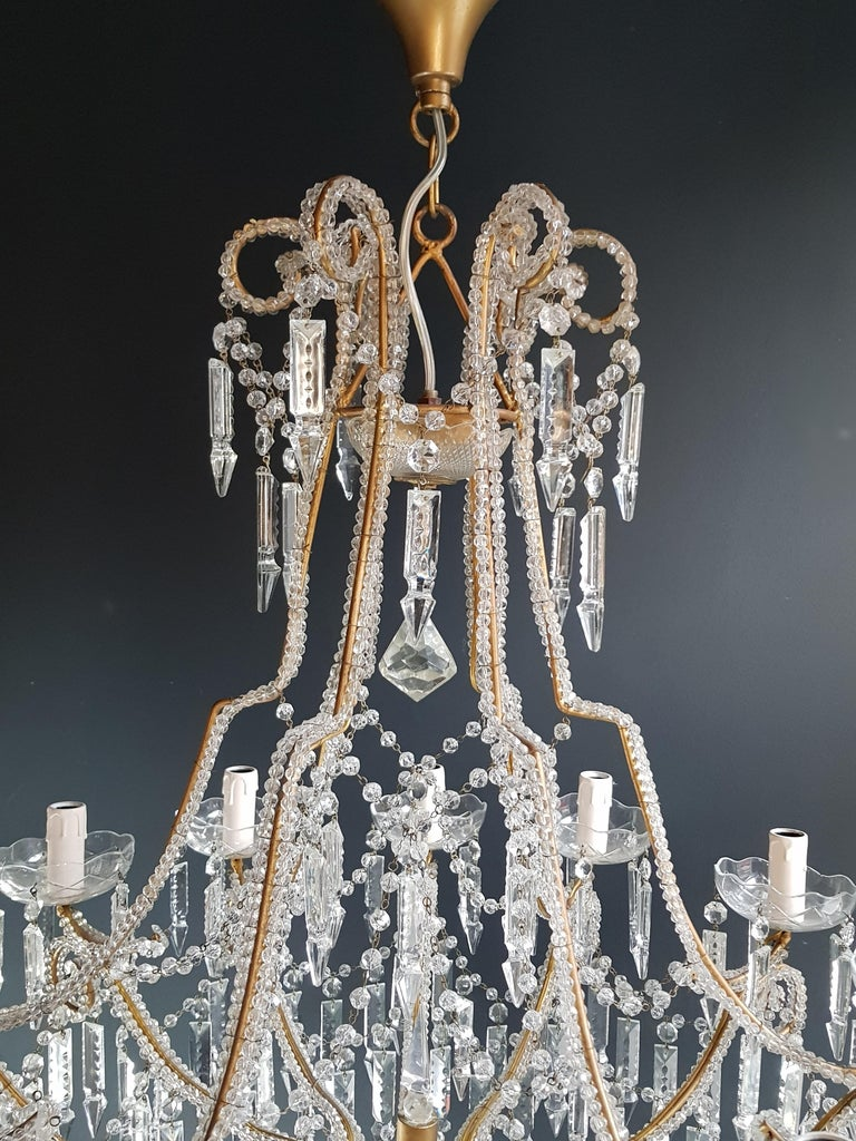 Beaded Crystal Chandelier Antique Ceiling Lamp Lustre Art Nouveau 2 Pieces, Pair In Good Condition For Sale In Berlin, DE