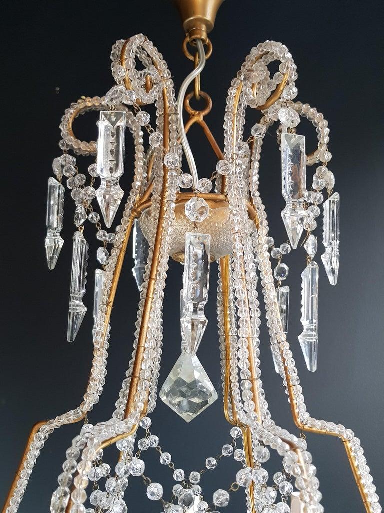 Mid-20th Century Beaded Crystal Chandelier Antique Ceiling Lamp Lustre Art Nouveau 2 Pieces, Pair For Sale
