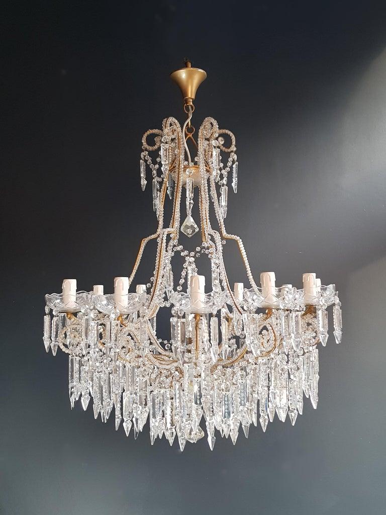 Glass Beaded Crystal Chandelier Antique Ceiling Lamp Lustre Art Nouveau 2 Pieces, Pair For Sale