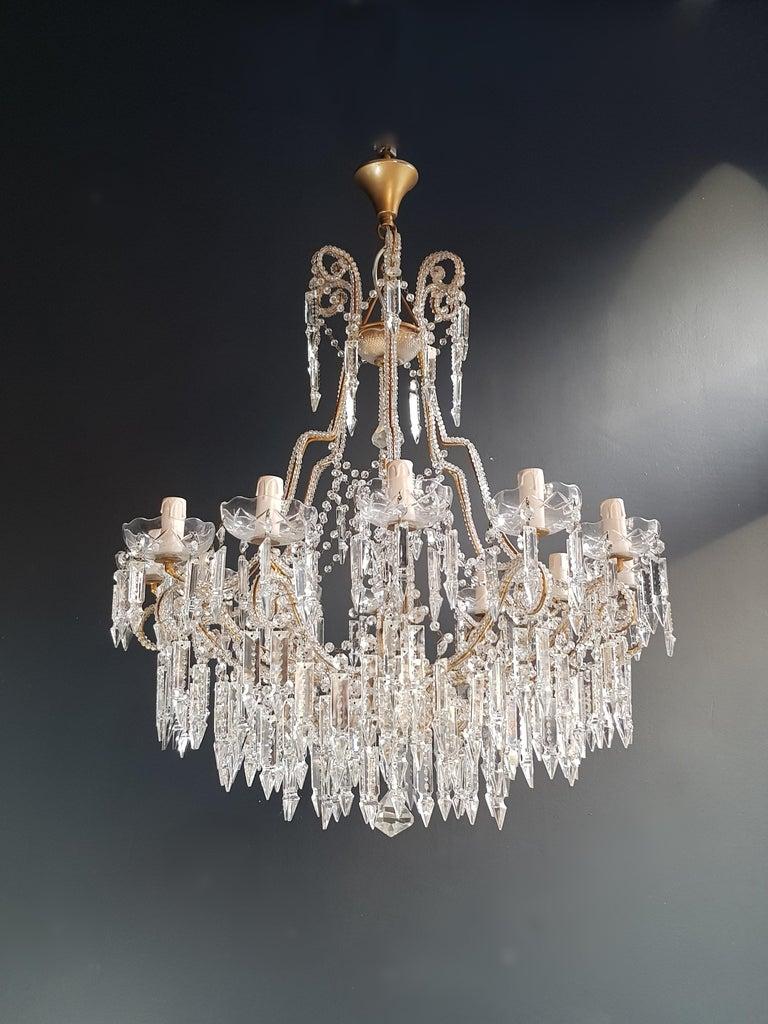 Beaded Crystal Chandelier Antique Ceiling Lamp Lustre Art Nouveau 2 Pieces, Pair For Sale 1