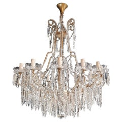 Beaded Crystal Chandelier Antique Ceiling Lamp Lustre Art Nouveau 2 Pieces, Pair