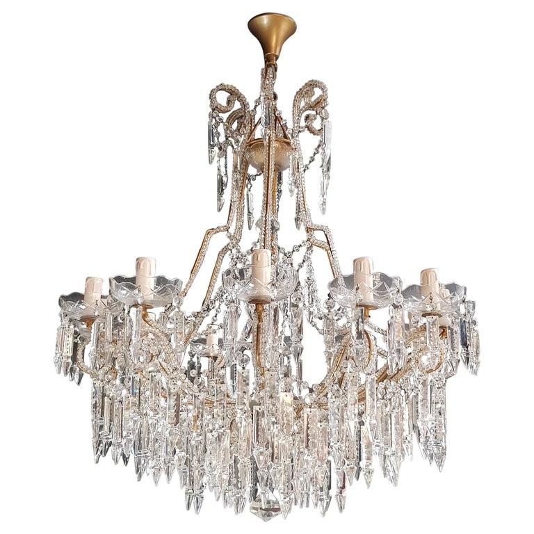 Beaded Crystal Chandelier Antique Ceiling Lamp Lustre Art Nouveau 2 Pieces, Pair For Sale