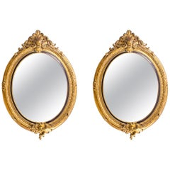 Pair of Beautiful Large Rococo Style Gilded Oval Mirrors