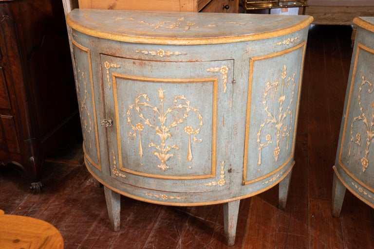 Gustavian Pair of Belle Epoch Painted Demilune Buffets For Sale