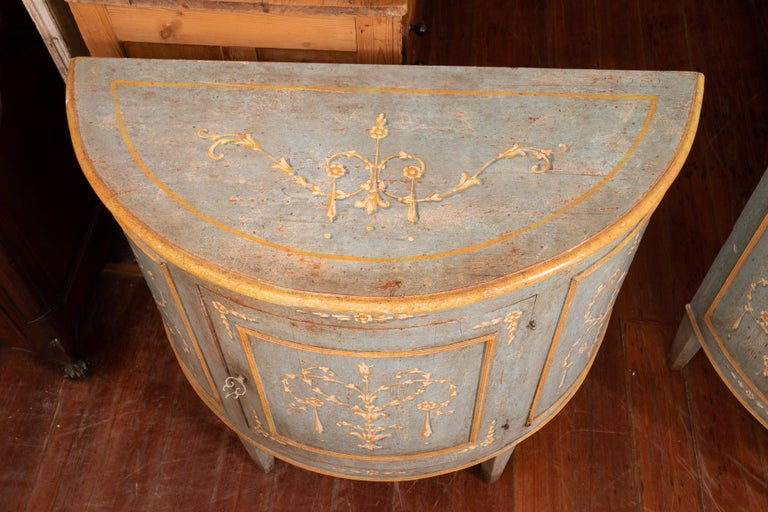 Pair of Belle Epoch Painted Demilune Buffets In Good Condition For Sale In New Orleans, LA