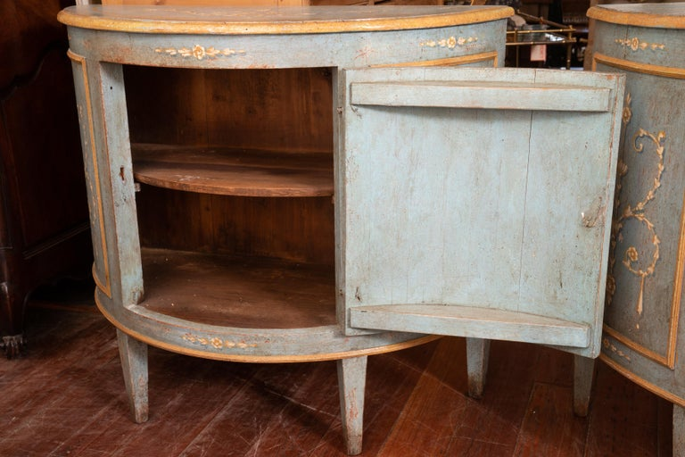Late 19th Century Pair of Belle Epoch Painted Demilune Buffets For Sale