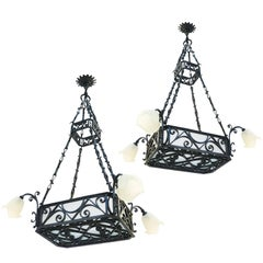 Pair of Belle Époque Chandeliers Large French Antique Lights Wrought Iron Glass