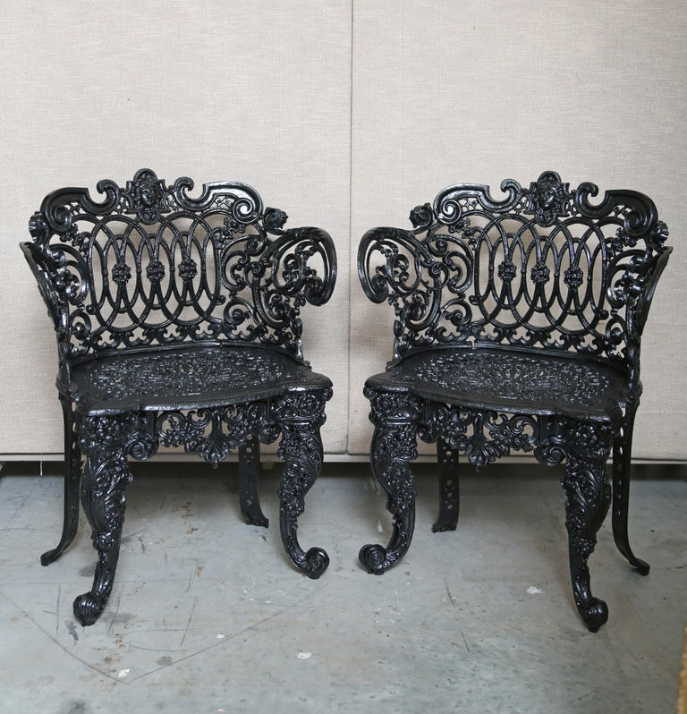 Pair Betsy Ross Pattern Victorian Cast Iron Garden Chairs The Work Is Superb With