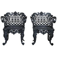 Pair Betsy Ross Pattern Victorian Cast Iron Garden Chairs