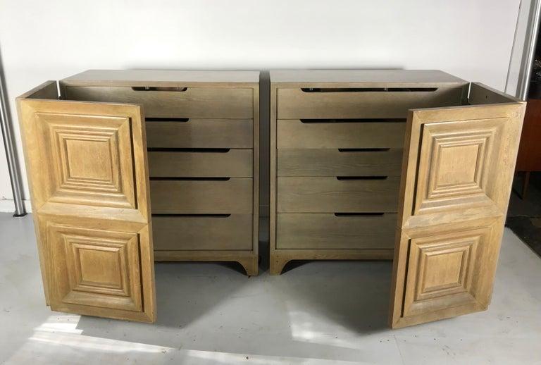 Pair of Bi-fold Panel Front 5-Drawer Cerused Dressers by Romweber Regency Modern For Sale 3