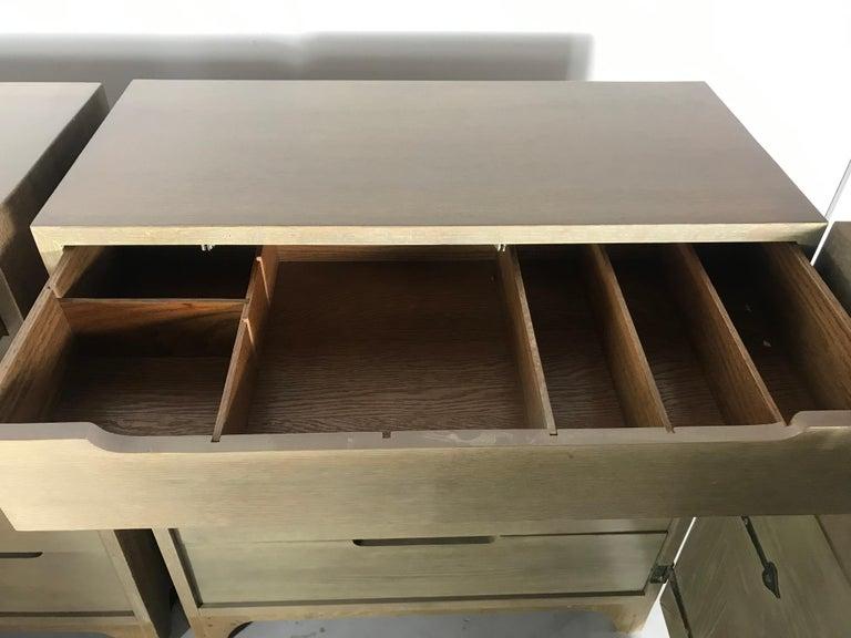 Pair of Bi-fold Panel Front 5-Drawer Cerused Dressers by Romweber Regency Modern For Sale 5