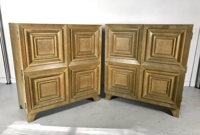 Pair of Bi-fold Panel Front 5-Drawer Cerused Dressers by Romweber Regency Modern For Sale 6