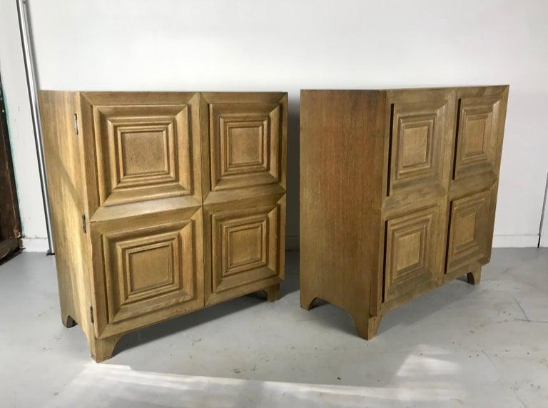 Pair of Bi-fold Panel Front 5-Drawer Cerused Dressers by Romweber Regency Modern For Sale 7