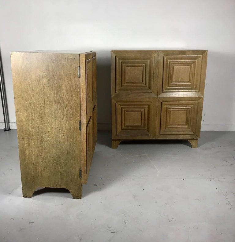 Pair of Bi-fold Panel Front 5-Drawer Cerused Dressers by Romweber Regency Modern For Sale 8