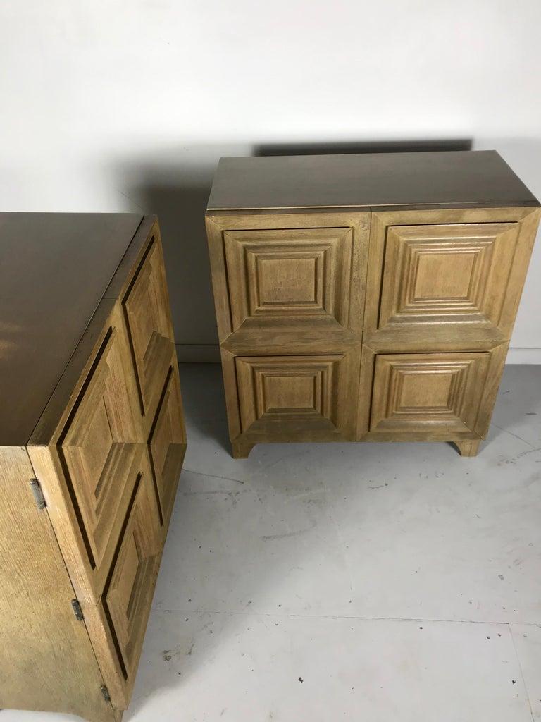 Pair of Bi-fold Panel Front 5-Drawer Cerused Dressers by Romweber Regency Modern For Sale 9