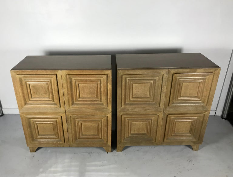 American Pair of Bi-fold Panel Front 5-Drawer Cerused Dressers by Romweber Regency Modern For Sale