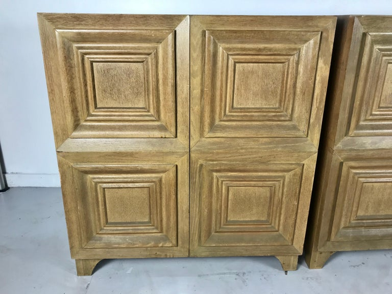 Pair of Bi-fold Panel Front 5-Drawer Cerused Dressers by Romweber Regency Modern In Good Condition For Sale In Buffalo, NY