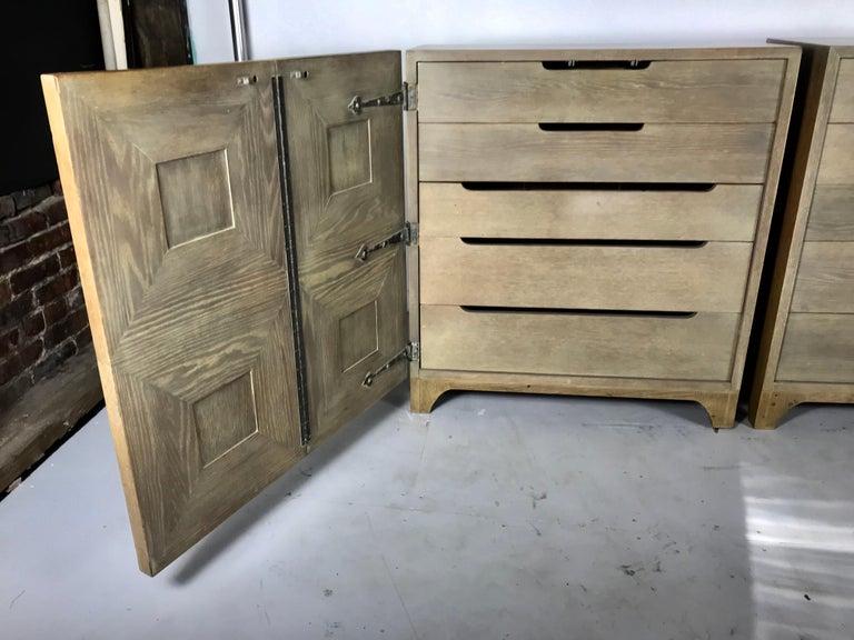 Pair of Bi-fold Panel Front 5-Drawer Cerused Dressers by Romweber Regency Modern For Sale 1
