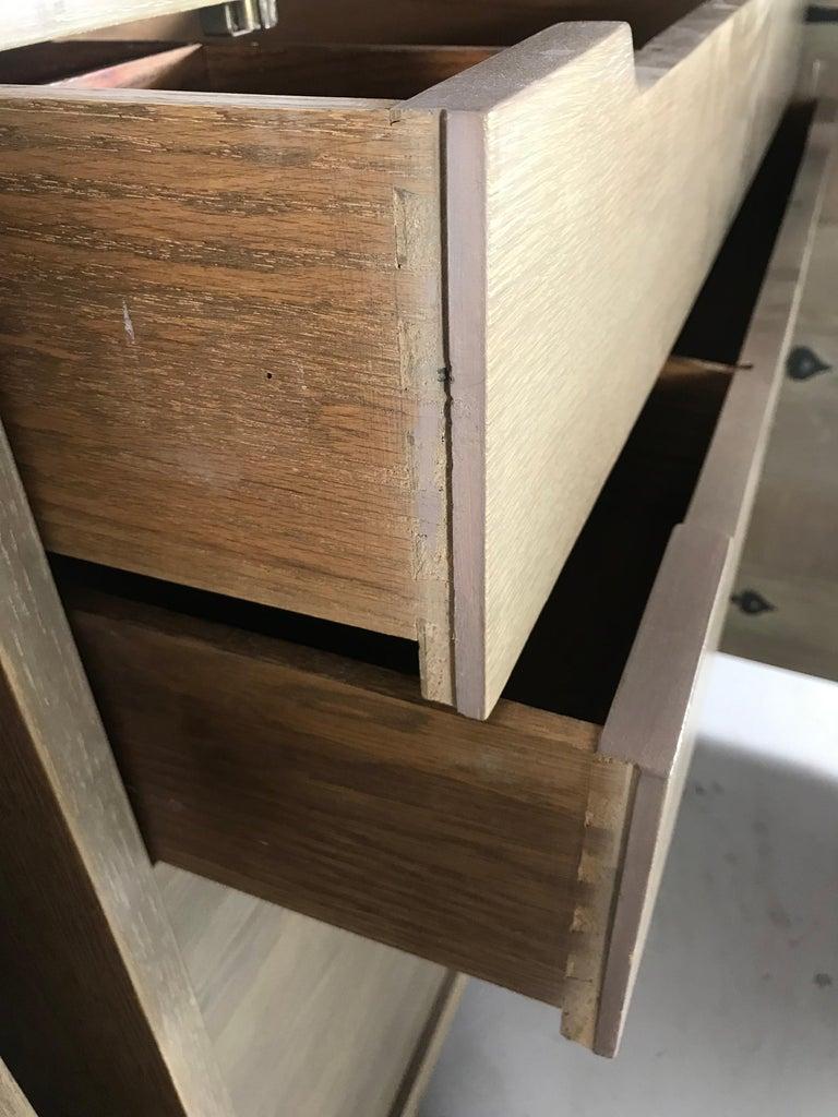 Pair of Bi-fold Panel Front 5-Drawer Cerused Dressers by Romweber Regency Modern For Sale 2