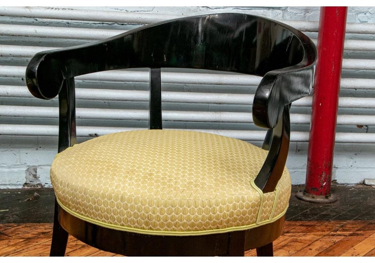 Pair of Biedermeier Black Lacquered Armchairs For Sale 7