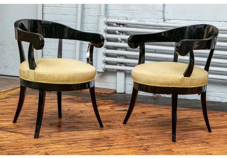 Pair of Biedermeier Black Lacquered Armchairs In Good Condition For Sale In Bridgeport, CT