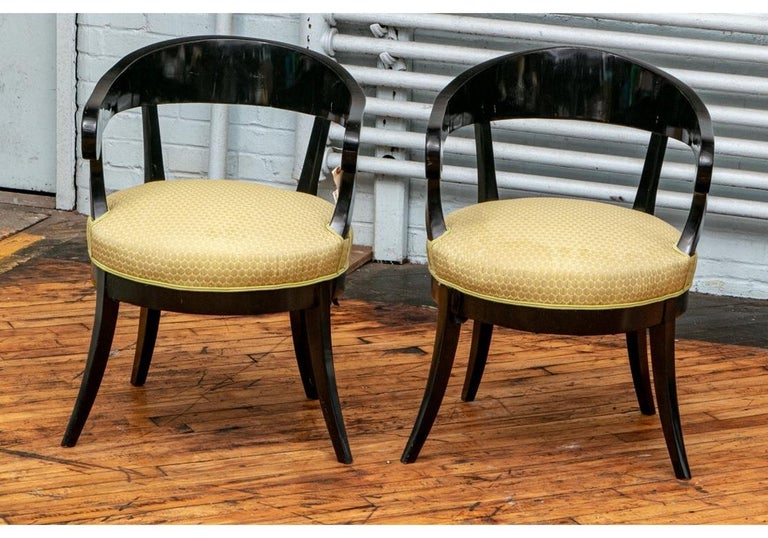 19th Century Pair of Biedermeier Black Lacquered Armchairs For Sale