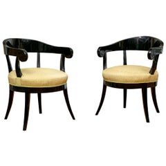 Pair of Biedermeier Black Lacquered Armchairs