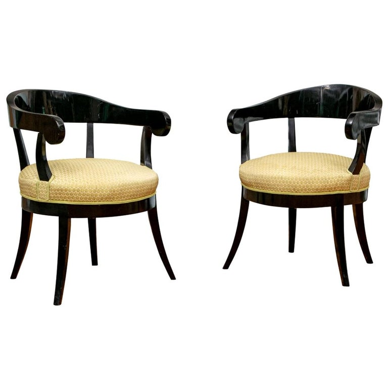 Pair of Biedermeier Black Lacquered Armchairs For Sale