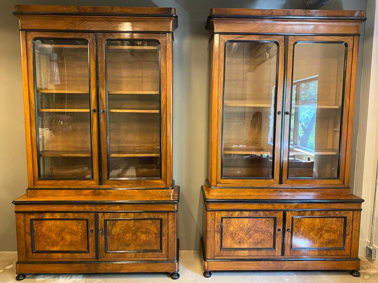 Hard to find pair of large scale Austrian Biedermeier step-back cabinets of burled walnut or fruitwood with black ebonized accents. Top section has double glass doors and four adjustable oak interior shelves. Base has panel doors and single interior