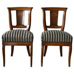 Pair of Biedermeier Chairs Walnut, South German, 19th Century