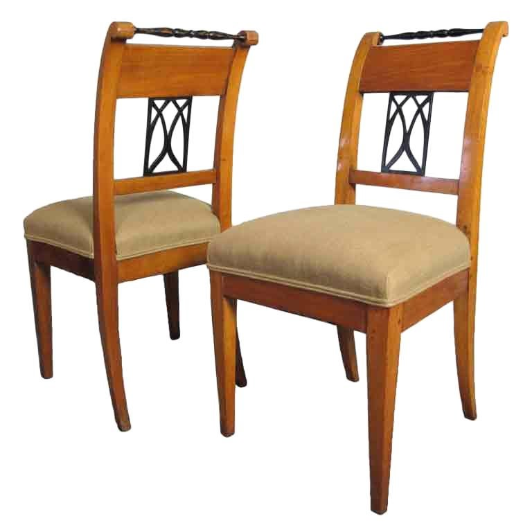Pair Biedermeier Side or Dining Chairs For Sale