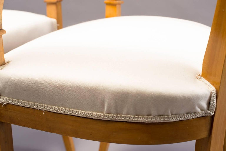 Upholstery Pair of Biedermeier Style Armchairs For Sale