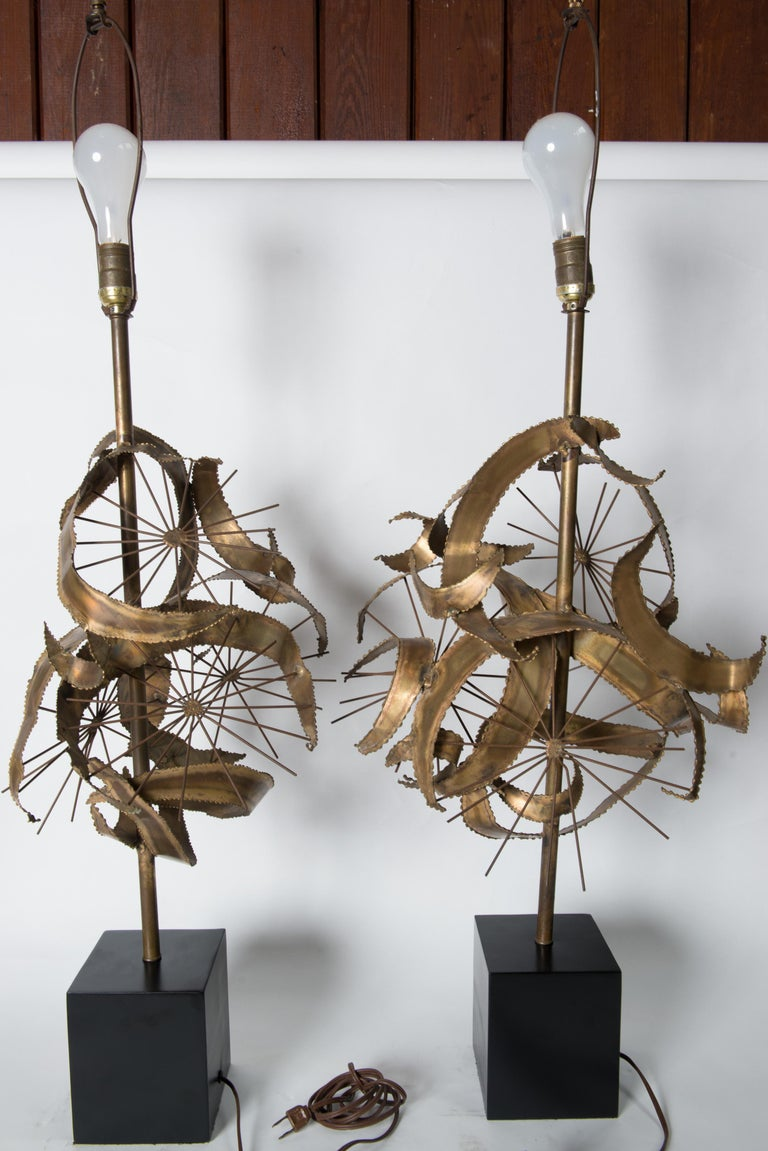 Pair of Bijan Brass Brutalist Lamps for Laurel For Sale 9
