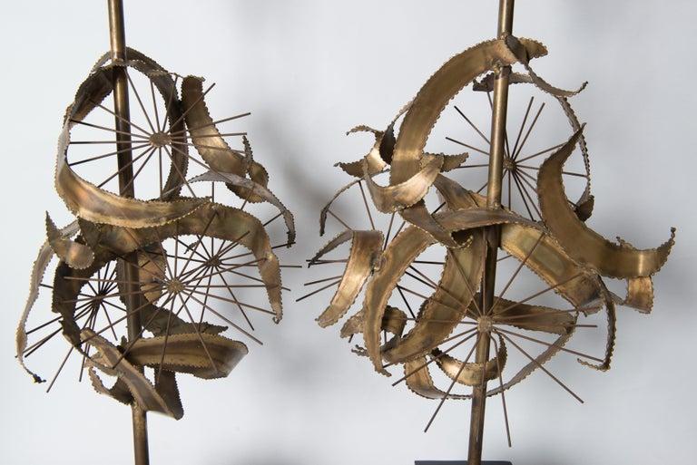 Pair of Bijan Brass Brutalist Lamps for Laurel For Sale 10