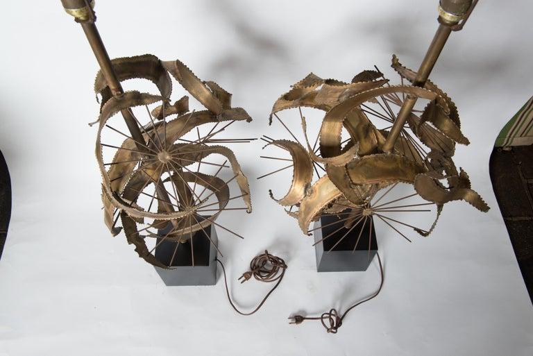 Pair of Bijan Brass Brutalist Lamps for Laurel For Sale 13