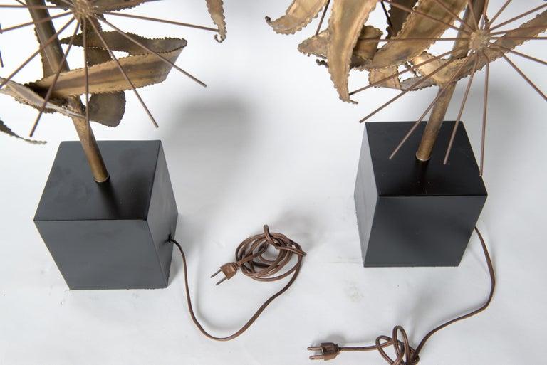 Pair of Bijan Brass Brutalist Lamps for Laurel For Sale 14