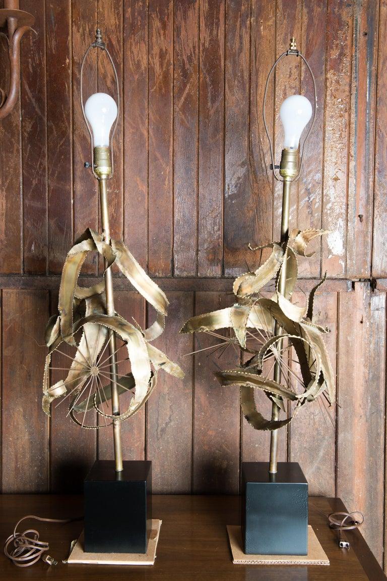 American Pair of Bijan Brass Brutalist Lamps for Laurel For Sale