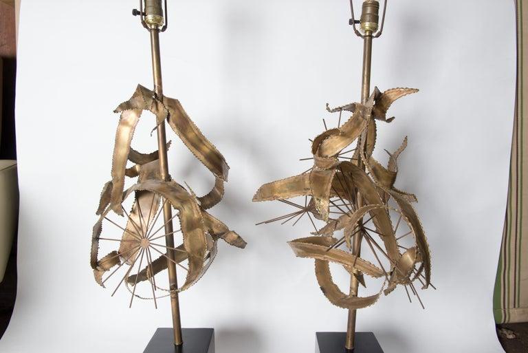 Pair of Bijan Brass Brutalist Lamps for Laurel For Sale 2