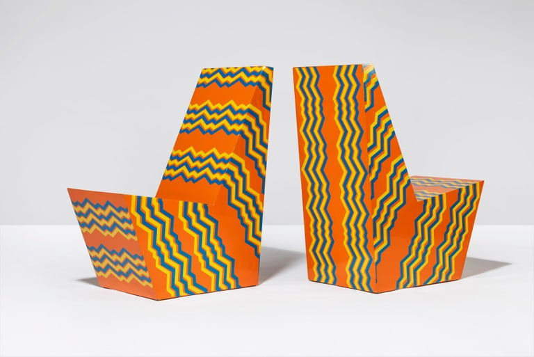 Mid-Century Modern Pair Bill Bell Painted Plywood Chairs For Sale