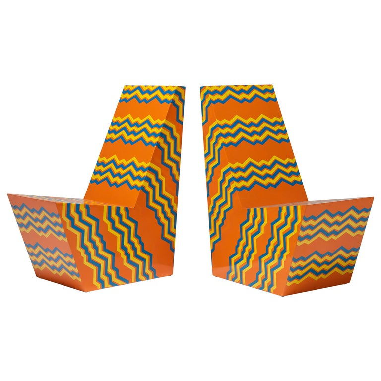 Pair Bill Bell Painted Plywood Chairs For Sale