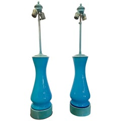 Pair of Billy Haines Blue Opaline Lamps