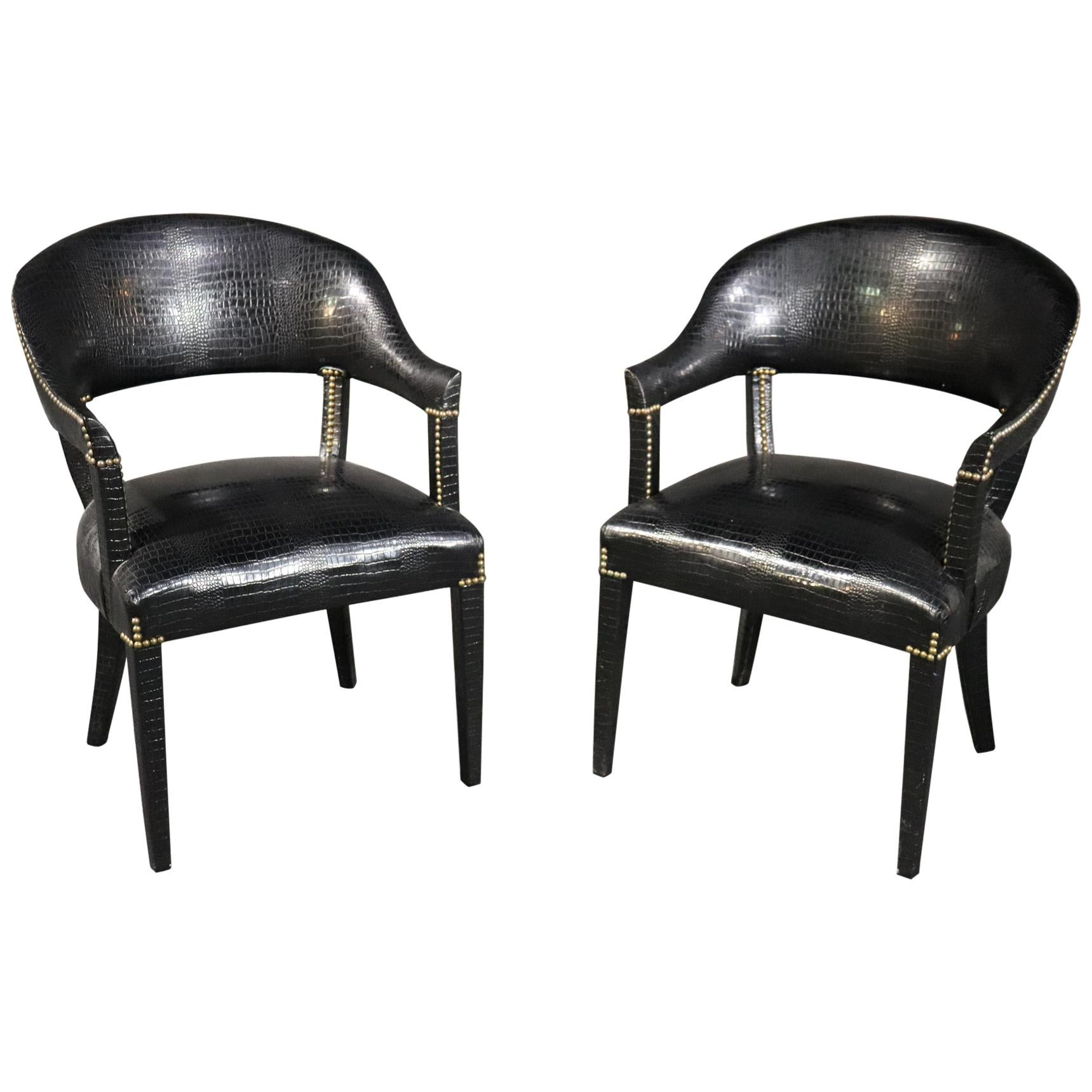 Pair Black Alligator Printed Faux Leather Brass Studded Occasional Office Chairs