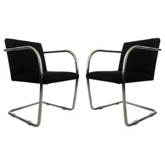 Pair Black and Chrome Brno Chairs by Mies van der Rohe for Thonet